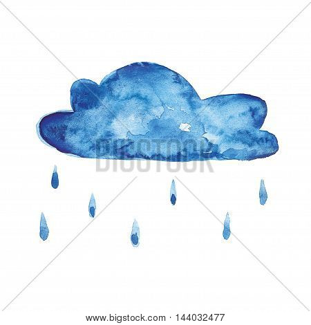 Watercolor icon of rainy cloud Hand drawn image