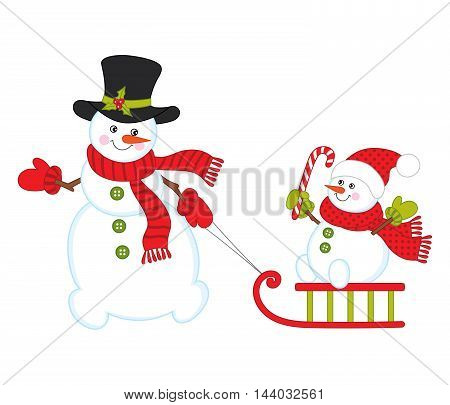 Vector Christmas snowmen with sledge and candy stick