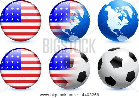United States Flag Button with Global Soccer Event Original Illustration