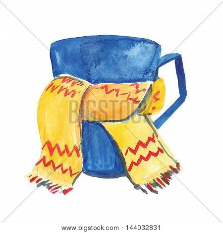 Watercolor image of mug with scarf Hand drawn image