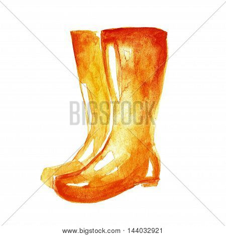 Watercolor icon of gumboots Hand drawn image