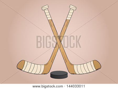Crossed Ice hockey sticks with puck vector illustration