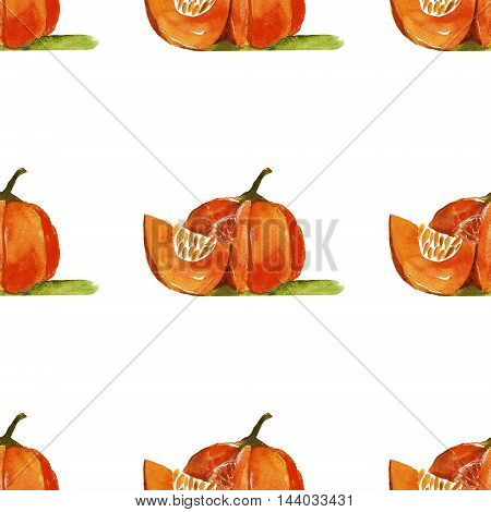 Watercolor seamless pattern with pumkin Hand drawn image