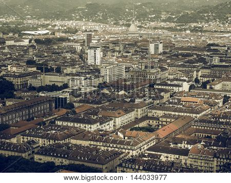 Vintage desaturated Aerial view of the city centre of Turin Italy