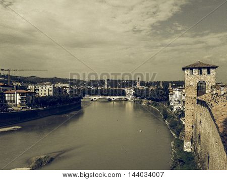 Vintage desaturated View of River Adige in Verona Italy