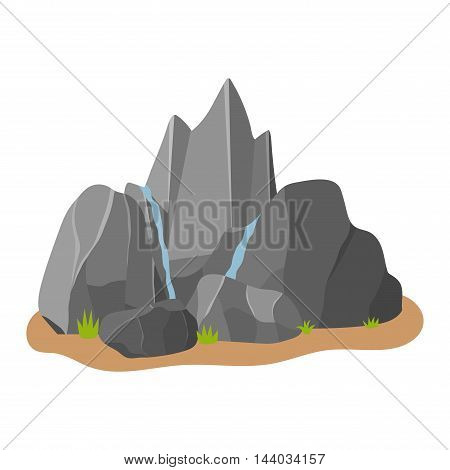 Stones rocks in cartoon style big building mineral pile. Boulder natural rocks and stones granite rough. Vector illustration rocks and stones nature boulder geology gray cartoon material.
