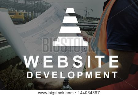 Construction Hammer Wedge Website Webpage Concept