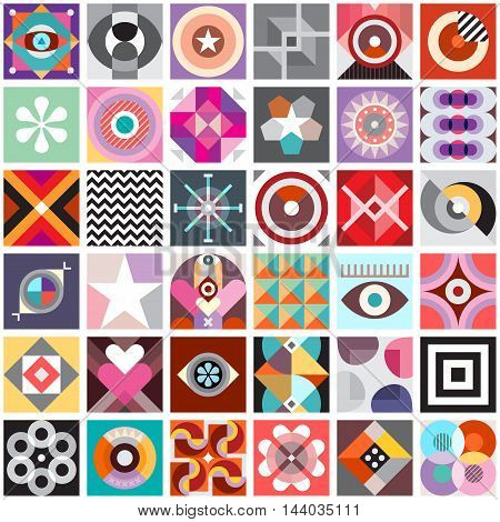 Composition of abstract geometric patterns. Vector seamless background.