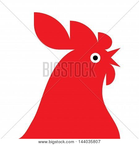 red rooster isolated on white background. Vector illustration