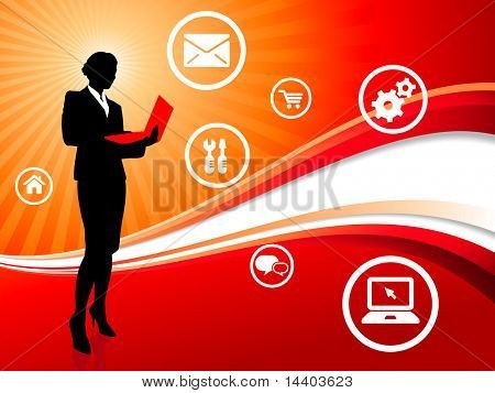 Businesswoman on Red Wave Background with Internet Icons Original Illustration
