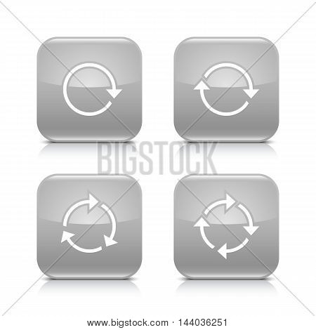 4 arrow icon. White repeat reload rotation refresh sign. Set 01. Gray rounded square button with gray reflection black shadow on white background. Vector illustration web design element in 8 eps