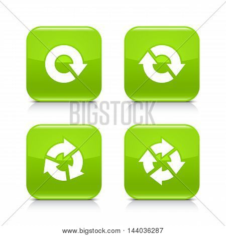 4 arrow icon. White rotation repeat refresh reload sign. Set 04. Green rounded square button with gray reflection black shadow on white background. Vector illustration web design element in 8 eps