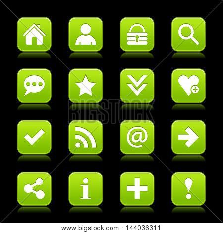 16 green satin icon with white basic sign on rounded square web button with color reflection on background. This vector illustration internet design element save in 8 eps