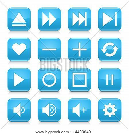 16 media control icon set 06. White sign on blue rounded square button with gray reflection black shadow on white background. Glossy style. Vector illustration web design element in 8 eps