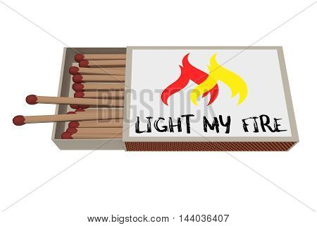 Light My Fire: Matchbox Isolated On A White Background 3d illustration