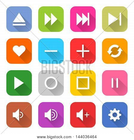 16 media icon set 06 white sign on color. Web internet button on white background. Simple minimalistic mono flat long shadow style. Vector illustration internet design graphic element 10 eps