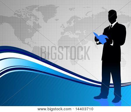 Businessman on World Map Background Original Illustration