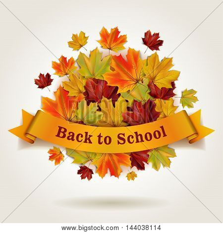 Back to school vector illustration with banner and colorful autumn maple leaves