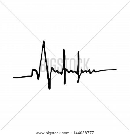 Heartbeat icon isolated on white background in style hand draw