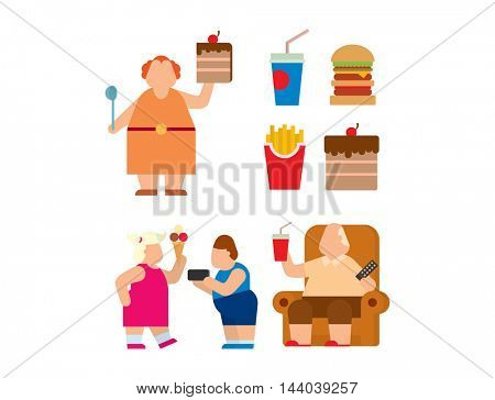 Fat people vector flat silhouette icons
