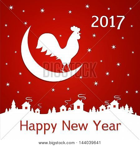 vector illustration. 2017 new year Christmas background. rooster decorated with a delicate tendril pattern on the background of the moon stars houses and trees. Cock