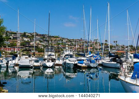 yachts moored at marina at beautiful sunny