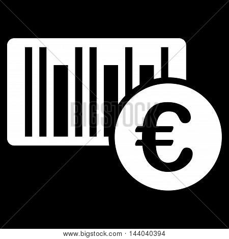 Euro Bar Code Price icon. Glyph style is flat iconic symbol, white color, black background.