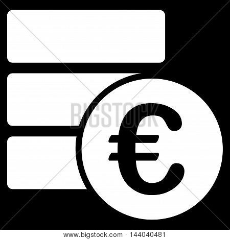 Euro Database icon. Glyph style is flat iconic symbol, white color, black background.