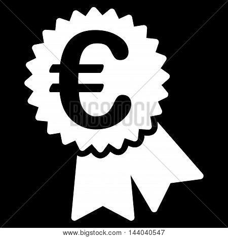 Euro Featured Price Tag icon. Glyph style is flat iconic symbol, white color, black background.