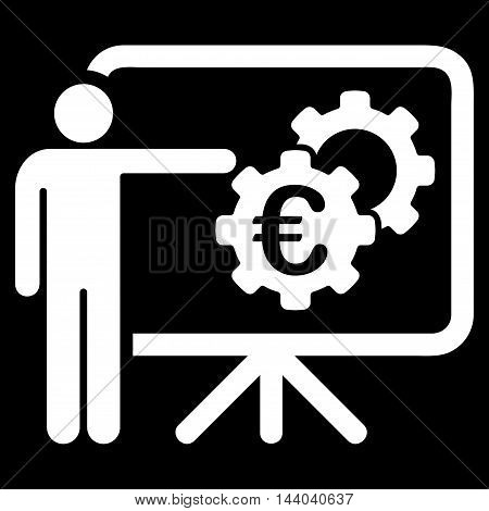 Euro Industrial Project Presentation icon. Glyph style is flat iconic symbol, white color, black background.