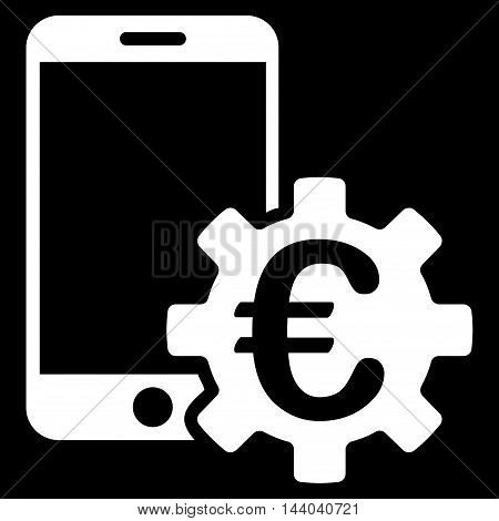 Euro Mobile Bank Configuration icon. Glyph style is flat iconic symbol, white color, black background.