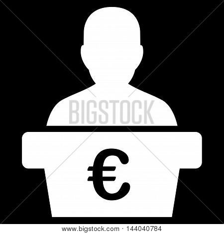 Euro Politician icon. Glyph style is flat iconic symbol, white color, black background.