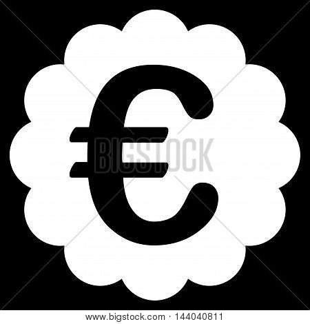 Euro Quality Seal icon. Glyph style is flat iconic symbol, white color, black background.