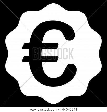 Euro Reward Seal icon. Glyph style is flat iconic symbol, white color, black background.