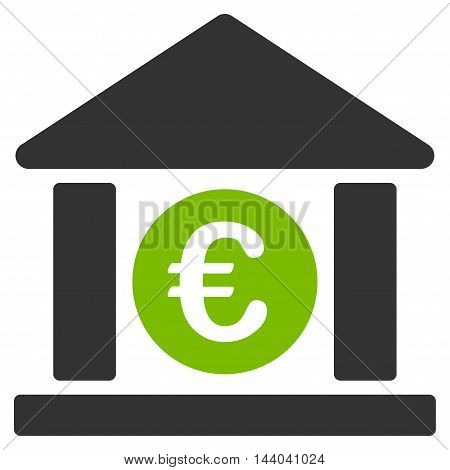 Euro Bank Building icon. Glyph style is bicolor flat iconic symbol, eco green and gray colors, white background.