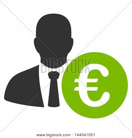 Euro Banker icon. Glyph style is bicolor flat iconic symbol, eco green and gray colors, white background.