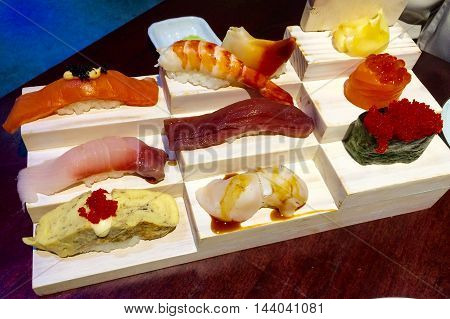 Sushi Set on the Wood Plate Japanese Food
