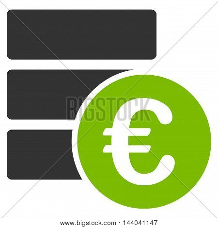 Euro Database icon. Glyph style is bicolor flat iconic symbol, eco green and gray colors, white background.