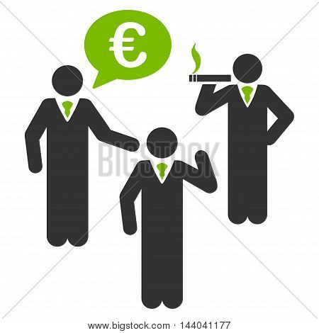 Euro Discuss People icon. Glyph style is bicolor flat iconic symbol, eco green and gray colors, white background.