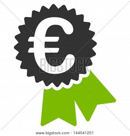 Euro Featured Price Tag icon. Glyph style is bicolor flat iconic symbol, eco green and gray colors, white background.