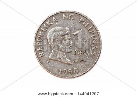 The currency from Philippines , a coin front face