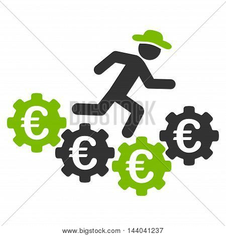 Euro Gears Runner icon. Glyph style is bicolor flat iconic symbol, eco green and gray colors, white background.