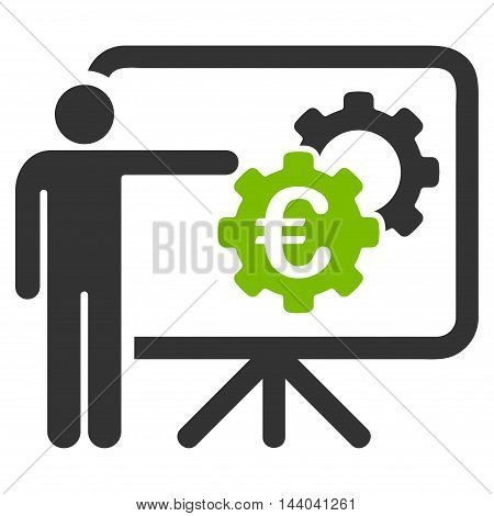 Euro Industrial Project Presentation icon. Glyph style is bicolor flat iconic symbol, eco green and gray colors, white background.