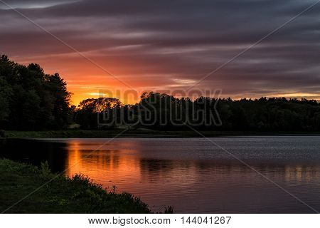A sunset with a magnificent colors in a lake