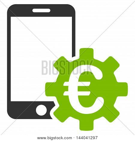 Euro Mobile Bank Configuration icon. Glyph style is bicolor flat iconic symbol, eco green and gray colors, white background.
