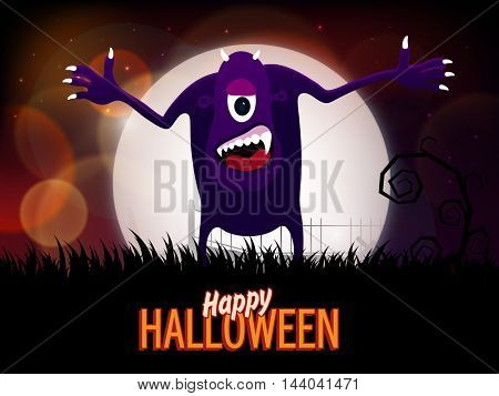 Happy Halloween Party celebration with scary Monster on shiny horrible night background.