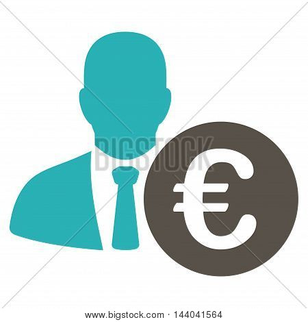 Euro Banker icon. Glyph style is bicolor flat iconic symbol, grey and cyan colors, white background.
