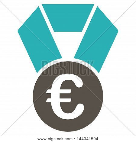 Euro Champion Medal icon. Glyph style is bicolor flat iconic symbol, grey and cyan colors, white background.