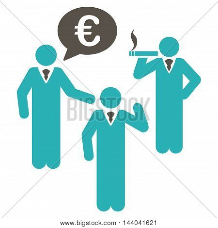 Euro Discuss People icon. Glyph style is bicolor flat iconic symbol, grey and cyan colors, white background.