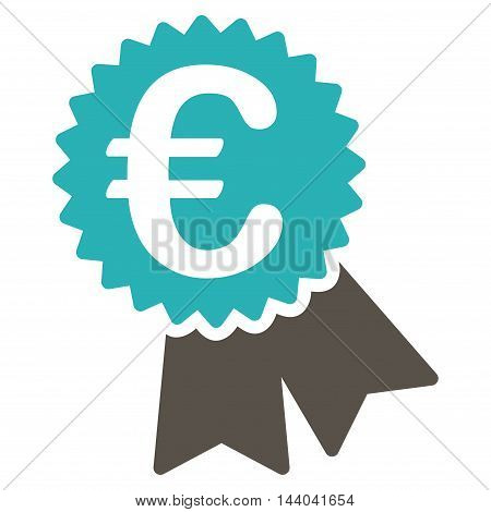 Euro Featured Price Tag icon. Glyph style is bicolor flat iconic symbol, grey and cyan colors, white background.